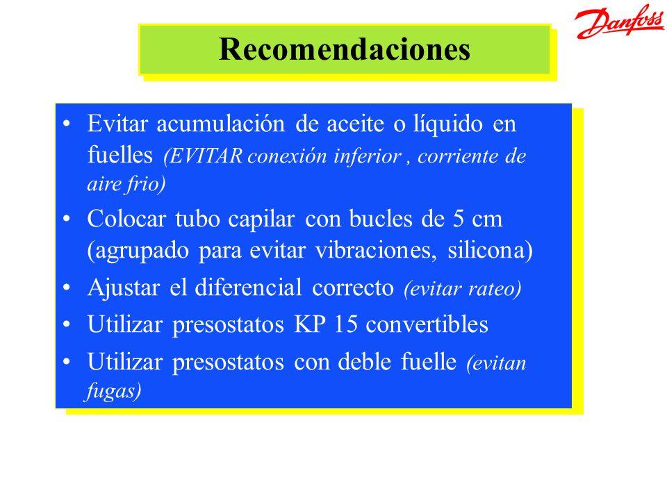 &[Archivo]Recomendaciones. Evitar acumulación de aceite o líquido en fuelles (EVITAR conexión inferior , corriente de aire frio)